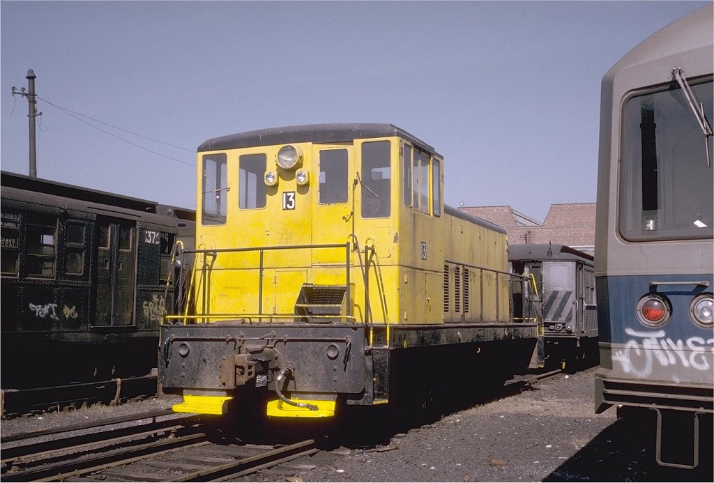 (183k, 1024x693)<br><b>Country:</b> United States<br><b>City:</b> New York<br><b>System:</b> New York City Transit<br><b>Location:</b> Coney Island Yard<br><b>Car:</b> GE 70T Locomotive (SBK)  13 <br><b>Photo by:</b> Steve Zabel<br><b>Collection of:</b> Joe Testagrose<br><b>Date:</b> 3/20/1974<br><b>Viewed (this week/total):</b> 1 / 3153