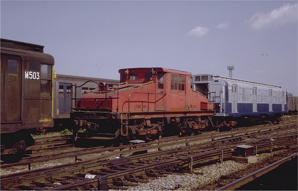 (203k, 1024x656)<br><b>Country:</b> United States<br><b>City:</b> New York<br><b>System:</b> New York City Transit<br><b>Location:</b> Coney Island Yard<br><b>Car:</b> SBK Steeplecab 7 <br><b>Photo by:</b> Steve Zabel<br><b>Collection of:</b> Joe Testagrose<br><b>Date:</b> 5/25/1971<br><b>Viewed (this week/total):</b> 2 / 2440