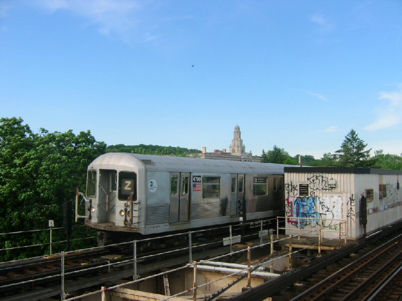 (91k, 800x600)<br><b>Country:</b> United States<br><b>City:</b> New York<br><b>System:</b> New York City Transit<br><b>Line:</b> BMT Nassau Street/Jamaica Line<br><b>Location:</b> Cypress Hills <br><b>Route:</b> Z<br><b>Car:</b> R-42 (St. Louis, 1969-1970)  4799 <br><b>Photo by:</b> Dante D. Angerville<br><b>Date:</b> 5/20/2004<br><b>Viewed (this week/total):</b> 4 / 3560
