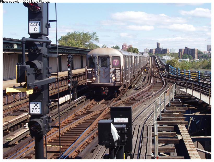 (127k, 820x620)<br><b>Country:</b> United States<br><b>City:</b> New York<br><b>System:</b> New York City Transit<br><b>Line:</b> IRT Flushing Line<br><b>Location:</b> Willets Point/Mets (fmr. Shea Stadium) <br><b>Car:</b> R-62A (Bombardier, 1984-1987)   <br><b>Photo by:</b> Marc Pitanza<br><b>Date:</b> 10/11/2004<br><b>Viewed (this week/total):</b> 0 / 5169