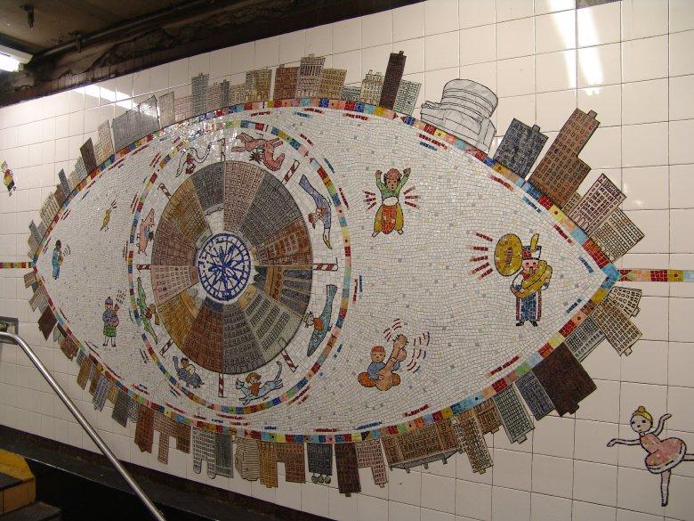(133k, 780x585)<br><b>Country:</b> United States<br><b>City:</b> New York<br><b>System:</b> New York City Transit<br><b>Line:</b> IRT East Side Line<br><b>Location:</b> 86th Street <br><b>Photo by:</b> Richard Panse<br><b>Date:</b> 10/13/2004<br><b>Artwork:</b> <i>Happy City</i>, Peter Sis (2004).<br><b>Viewed (this week/total):</b> 12 / 3977