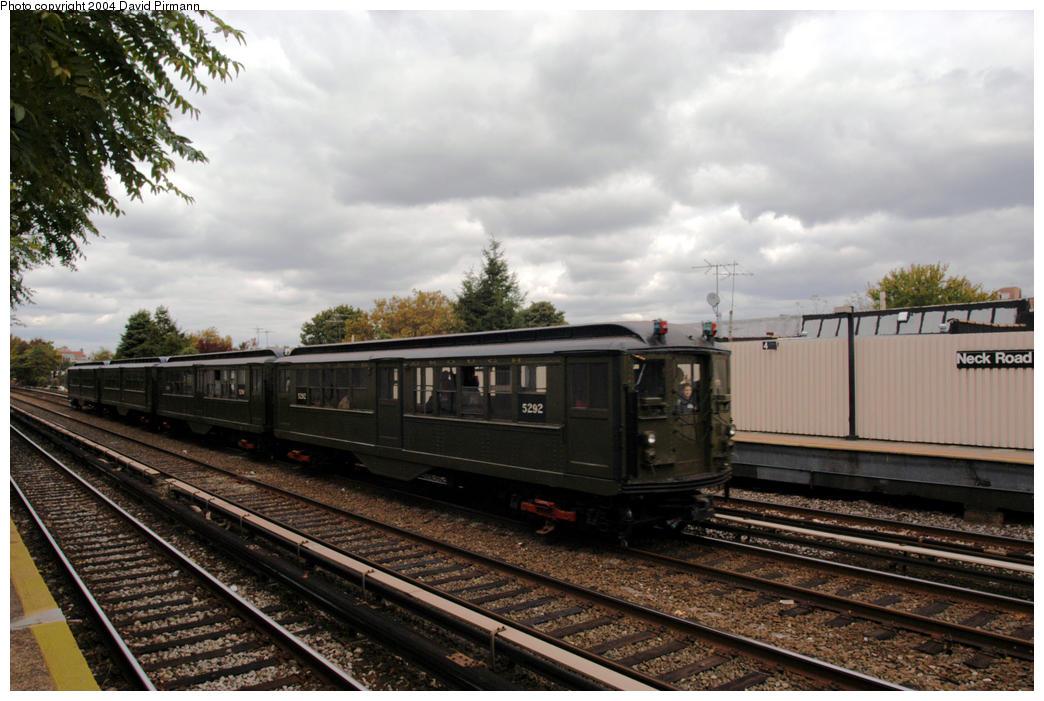 (183k, 1044x701)<br><b>Country:</b> United States<br><b>City:</b> New York<br><b>System:</b> New York City Transit<br><b>Line:</b> BMT Brighton Line<br><b>Location:</b> Neck Road <br><b>Route:</b> Fan Trip<br><b>Car:</b> Low-V (Museum Train) 5292 <br><b>Photo by:</b> David Pirmann<br><b>Date:</b> 10/23/2004<br><b>Viewed (this week/total):</b> 2 / 3771