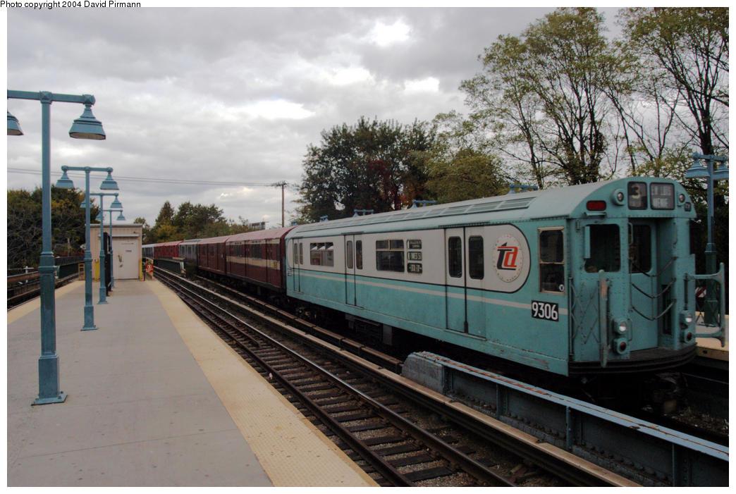 (198k, 1044x701)<br><b>Country:</b> United States<br><b>City:</b> New York<br><b>System:</b> New York City Transit<br><b>Line:</b> BMT Brighton Line<br><b>Location:</b> Sheepshead Bay <br><b>Route:</b> Fan Trip<br><b>Car:</b> R-33 World's Fair (St. Louis, 1963-64) 9306 <br><b>Photo by:</b> David Pirmann<br><b>Date:</b> 10/23/2004<br><b>Viewed (this week/total):</b> 0 / 4104