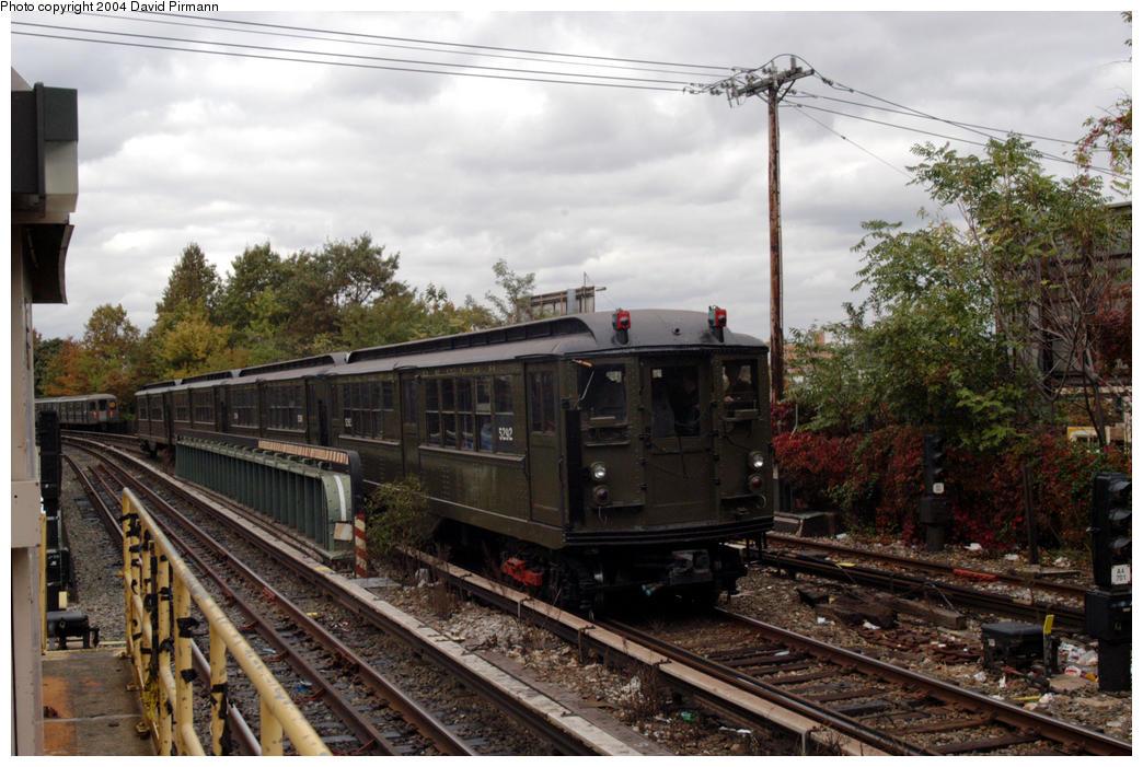 (194k, 1044x701)<br><b>Country:</b> United States<br><b>City:</b> New York<br><b>System:</b> New York City Transit<br><b>Line:</b> BMT Brighton Line<br><b>Location:</b> Sheepshead Bay <br><b>Route:</b> Fan Trip<br><b>Car:</b> Low-V (Museum Train) 5292 <br><b>Photo by:</b> David Pirmann<br><b>Date:</b> 10/23/2004<br><b>Viewed (this week/total):</b> 2 / 3874