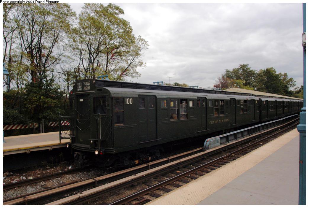 (190k, 1044x701)<br><b>Country:</b> United States<br><b>City:</b> New York<br><b>System:</b> New York City Transit<br><b>Line:</b> BMT Brighton Line<br><b>Location:</b> Sheepshead Bay <br><b>Route:</b> Fan Trip<br><b>Car:</b> R-1 (American Car & Foundry, 1930-1931) 100 <br><b>Photo by:</b> David Pirmann<br><b>Date:</b> 10/23/2004<br><b>Viewed (this week/total):</b> 1 / 3935