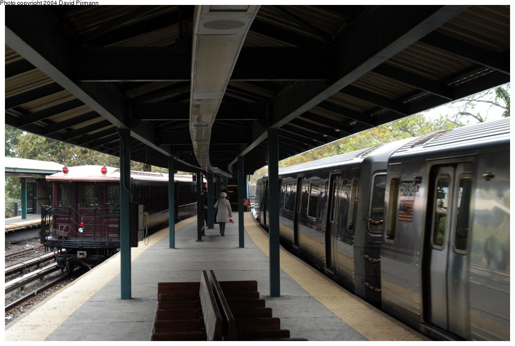 (168k, 1044x701)<br><b>Country:</b> United States<br><b>City:</b> New York<br><b>System:</b> New York City Transit<br><b>Line:</b> BMT Brighton Line<br><b>Location:</b> Sheepshead Bay <br><b>Route:</b> Fan Trip<br><b>Car:</b> BMT Elevated Gate Car 1404 <br><b>Photo by:</b> David Pirmann<br><b>Date:</b> 10/23/2004<br><b>Viewed (this week/total):</b> 0 / 4867