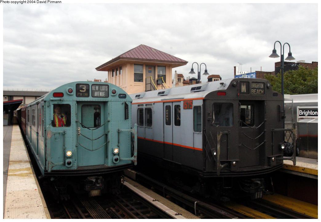 (150k, 1044x724)<br><b>Country:</b> United States<br><b>City:</b> New York<br><b>System:</b> New York City Transit<br><b>Line:</b> BMT Brighton Line<br><b>Location:</b> Brighton Beach <br><b>Route:</b> Fan Trip<br><b>Car:</b> R-33 World's Fair (St. Louis, 1963-64) 9306/1575 <br><b>Photo by:</b> David Pirmann<br><b>Date:</b> 10/23/2004<br><b>Viewed (this week/total):</b> 0 / 4654