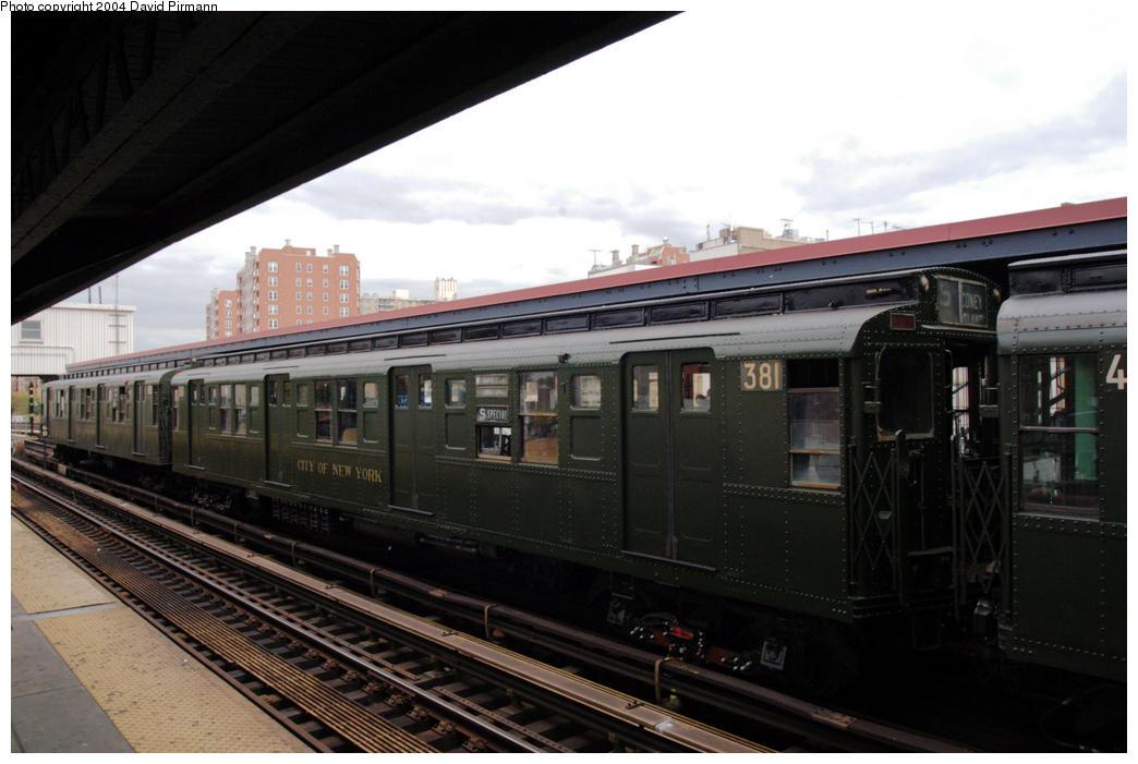 (153k, 1044x701)<br><b>Country:</b> United States<br><b>City:</b> New York<br><b>System:</b> New York City Transit<br><b>Line:</b> BMT Brighton Line<br><b>Location:</b> Brighton Beach <br><b>Route:</b> Fan Trip<br><b>Car:</b> R-1 (American Car & Foundry, 1930-1931) 381 <br><b>Photo by:</b> David Pirmann<br><b>Date:</b> 10/23/2004<br><b>Viewed (this week/total):</b> 1 / 3502
