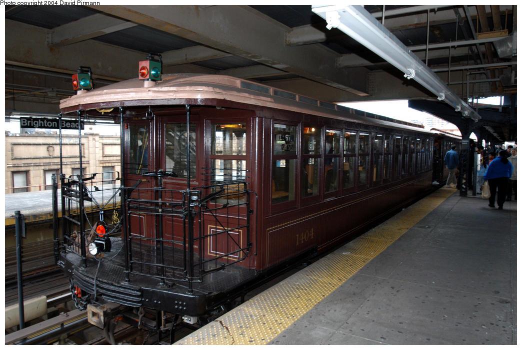 (187k, 1044x701)<br><b>Country:</b> United States<br><b>City:</b> New York<br><b>System:</b> New York City Transit<br><b>Line:</b> BMT Brighton Line<br><b>Location:</b> Brighton Beach <br><b>Route:</b> Fan Trip<br><b>Car:</b> BMT Elevated Gate Car 1404 <br><b>Photo by:</b> David Pirmann<br><b>Date:</b> 10/23/2004<br><b>Viewed (this week/total):</b> 1 / 4678