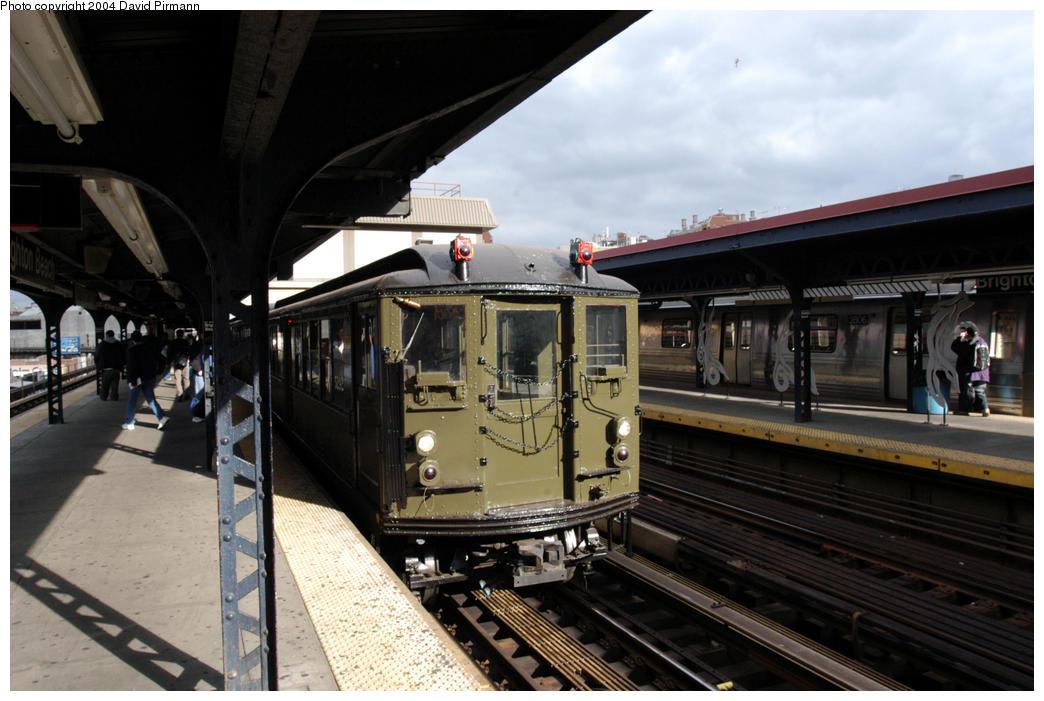 (168k, 1044x701)<br><b>Country:</b> United States<br><b>City:</b> New York<br><b>System:</b> New York City Transit<br><b>Line:</b> BMT Brighton Line<br><b>Location:</b> Brighton Beach <br><b>Route:</b> Fan Trip<br><b>Car:</b> Low-V (Museum Train) 5292 <br><b>Photo by:</b> David Pirmann<br><b>Date:</b> 10/23/2004<br><b>Viewed (this week/total):</b> 1 / 4014