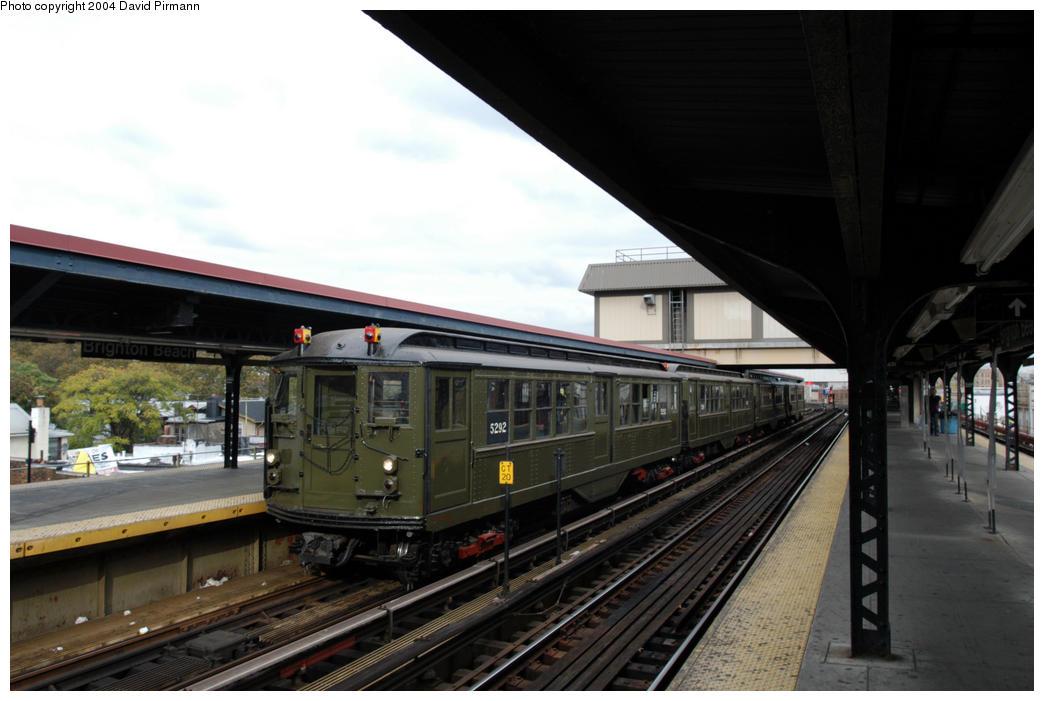 (156k, 1044x701)<br><b>Country:</b> United States<br><b>City:</b> New York<br><b>System:</b> New York City Transit<br><b>Line:</b> BMT Brighton Line<br><b>Location:</b> Brighton Beach <br><b>Route:</b> Fan Trip<br><b>Car:</b> Low-V (Museum Train) 5292 <br><b>Photo by:</b> David Pirmann<br><b>Date:</b> 10/23/2004<br><b>Viewed (this week/total):</b> 0 / 4363