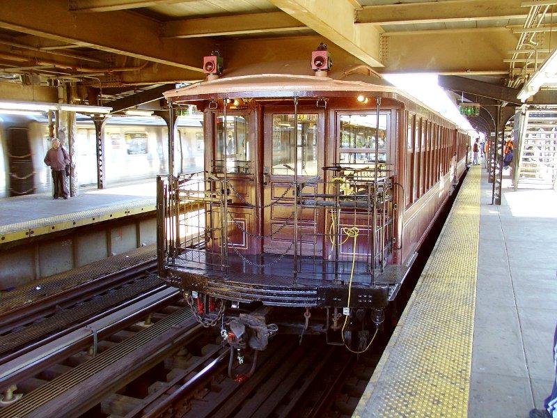 (148k, 800x600)<br><b>Country:</b> United States<br><b>City:</b> New York<br><b>System:</b> New York City Transit<br><b>Line:</b> BMT Brighton Line<br><b>Location:</b> Brighton Beach <br><b>Route:</b> Fan Trip<br><b>Car:</b> BMT Elevated Gate Car 1407 <br><b>Photo by:</b> Fred Guenther<br><b>Date:</b> 10/23/2004<br><b>Viewed (this week/total):</b> 0 / 4586