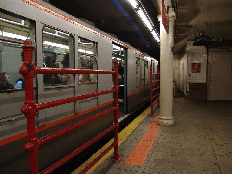 (83k, 766x575)<br><b>Country:</b> United States<br><b>City:</b> New York<br><b>System:</b> New York City Transit<br><b>Line:</b> IRT Times Square-Grand Central Shuttle<br><b>Location:</b> Times Square <br><b>Route:</b> Museum Train Service (S)<br><b>Car:</b> R-12 (American Car & Foundry, 1948) 5760 <br><b>Photo by:</b> Richard Panse<br><b>Date:</b> 10/27/2004<br><b>Notes:</b> Train in regular passenger service, technically not a fan trip.<br><b>Viewed (this week/total):</b> 1 / 4625