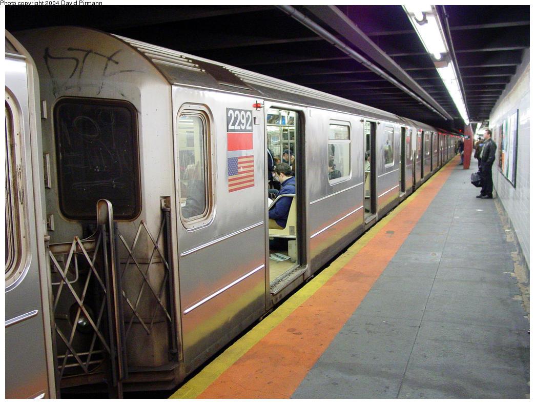 (168k, 1044x788)<br><b>Country:</b> United States<br><b>City:</b> New York<br><b>System:</b> New York City Transit<br><b>Line:</b> IRT West Side Line<br><b>Location:</b> 23rd Street <br><b>Route:</b> 1<br><b>Car:</b> R-62A (Bombardier, 1984-1987)  2292 <br><b>Photo by:</b> David Pirmann<br><b>Date:</b> 10/29/2004<br><b>Viewed (this week/total):</b> 0 / 5213