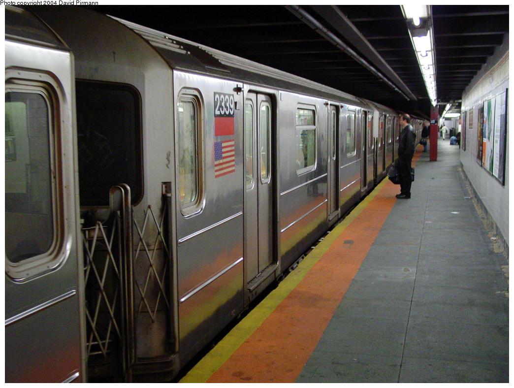 (156k, 1044x788)<br><b>Country:</b> United States<br><b>City:</b> New York<br><b>System:</b> New York City Transit<br><b>Line:</b> IRT West Side Line<br><b>Location:</b> 23rd Street <br><b>Route:</b> 1<br><b>Car:</b> R-62A (Bombardier, 1984-1987)  2339 <br><b>Photo by:</b> David Pirmann<br><b>Date:</b> 10/29/2004<br><b>Viewed (this week/total):</b> 2 / 4907