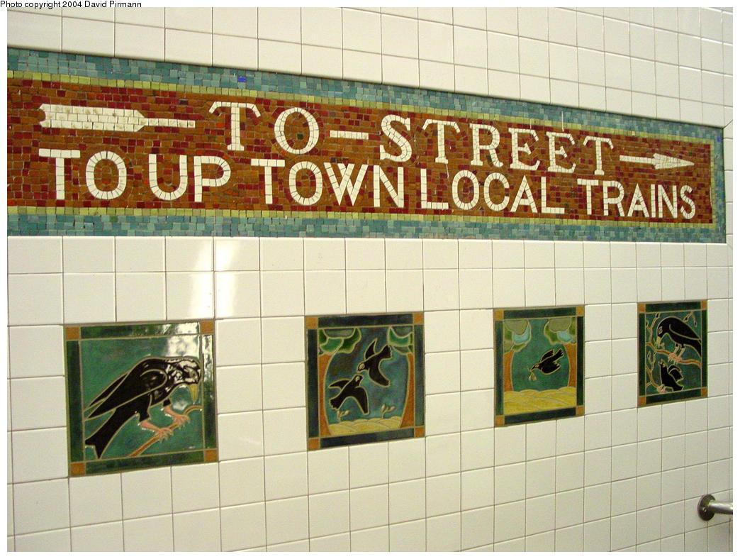 (182k, 1044x788)<br><b>Country:</b> United States<br><b>City:</b> New York<br><b>System:</b> New York City Transit<br><b>Line:</b> IRT West Side Line<br><b>Location:</b> 34th Street/Penn Station <br><b>Photo by:</b> David Pirmann<br><b>Date:</b> 10/29/2004<br><b>Artwork:</b> <i>A Bird's Life</i>, Elizabeth Grajales (1997).<br><b>Viewed (this week/total):</b> 3 / 5745