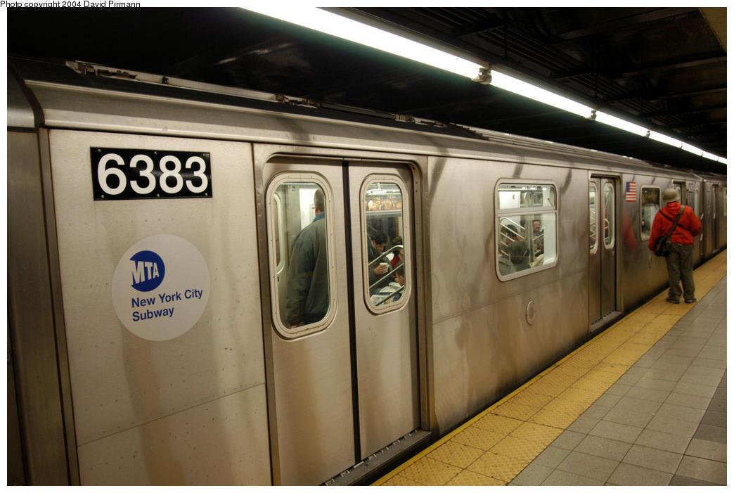 (157k, 1044x701)<br><b>Country:</b> United States<br><b>City:</b> New York<br><b>System:</b> New York City Transit<br><b>Line:</b> IRT West Side Line<br><b>Location:</b> 34th Street/Penn Station <br><b>Route:</b> 2<br><b>Car:</b> R-142 (Primary Order, Bombardier, 1999-2002)  6383 <br><b>Photo by:</b> David Pirmann<br><b>Date:</b> 10/29/2004<br><b>Viewed (this week/total):</b> 0 / 4561
