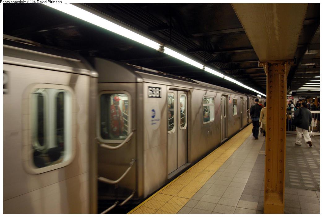 (146k, 1044x701)<br><b>Country:</b> United States<br><b>City:</b> New York<br><b>System:</b> New York City Transit<br><b>Line:</b> IRT West Side Line<br><b>Location:</b> 34th Street/Penn Station <br><b>Route:</b> 2<br><b>Car:</b> R-142 (Primary Order, Bombardier, 1999-2002)  6381 <br><b>Photo by:</b> David Pirmann<br><b>Date:</b> 10/29/2004<br><b>Viewed (this week/total):</b> 0 / 4206