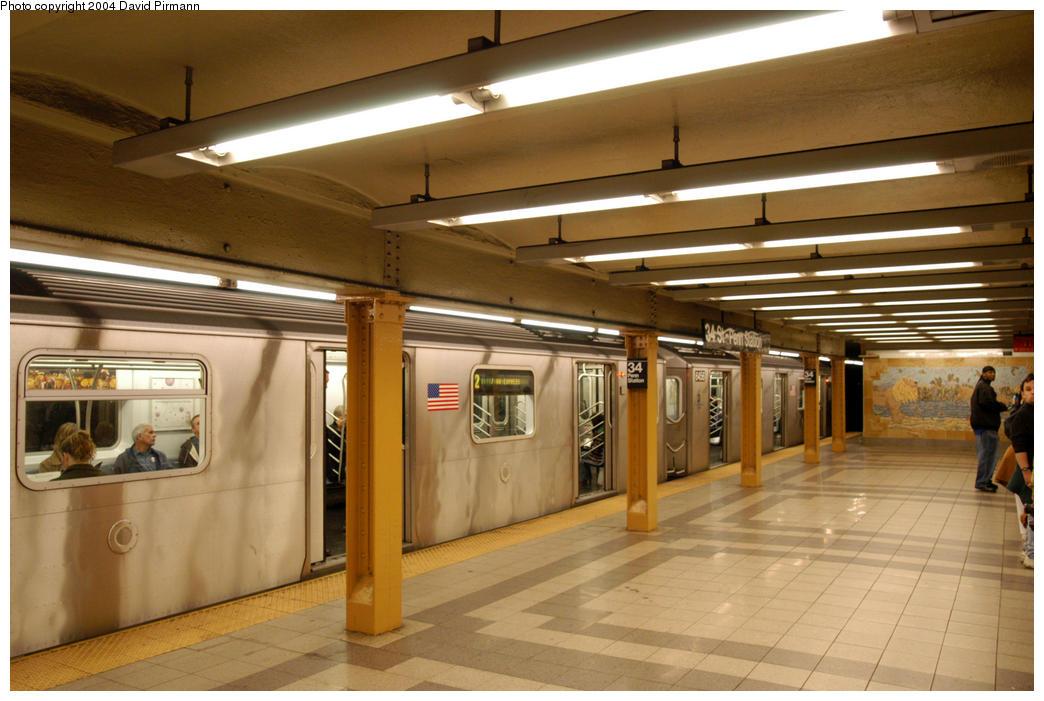 (178k, 1044x701)<br><b>Country:</b> United States<br><b>City:</b> New York<br><b>System:</b> New York City Transit<br><b>Line:</b> IRT West Side Line<br><b>Location:</b> 34th Street/Penn Station<br><b>Route:</b> 2<br><b>Car:</b> R-142 (Primary Order, Bombardier, 1999-2002) 6457 <br><b>Photo by:</b> David Pirmann<br><b>Date:</b> 10/29/2004<br><b>Viewed (this week/total):</b> 1 / 5449