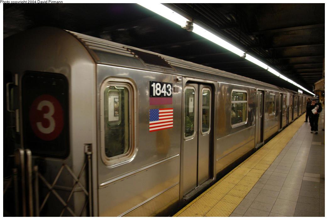 (148k, 1044x701)<br><b>Country:</b> United States<br><b>City:</b> New York<br><b>System:</b> New York City Transit<br><b>Line:</b> IRT West Side Line<br><b>Location:</b> 34th Street/Penn Station <br><b>Route:</b> 3<br><b>Car:</b> R-62A (Bombardier, 1984-1987)  1843 <br><b>Photo by:</b> David Pirmann<br><b>Date:</b> 10/29/2004<br><b>Viewed (this week/total):</b> 4 / 3384