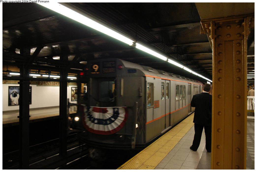 (147k, 1044x701)<br><b>Country:</b> United States<br><b>City:</b> New York<br><b>System:</b> New York City Transit<br><b>Line:</b> IRT West Side Line<br><b>Location:</b> 34th Street/Penn Station <br><b>Route:</b> Fan Trip<br><b>Car:</b> R-12 (American Car & Foundry, 1948) 5760 <br><b>Photo by:</b> David Pirmann<br><b>Date:</b> 10/29/2004<br><b>Notes:</b> Train in regular passenger service, technically not a fan trip.<br><b>Viewed (this week/total):</b> 0 / 3136
