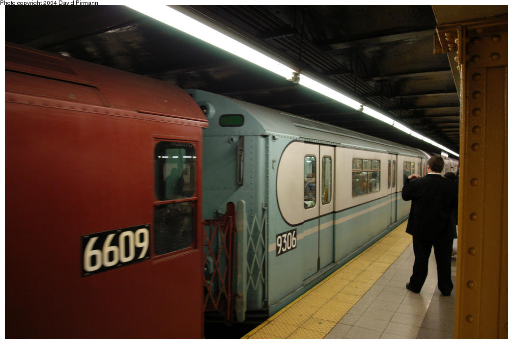 (136k, 1044x701)<br><b>Country:</b> United States<br><b>City:</b> New York<br><b>System:</b> New York City Transit<br><b>Line:</b> IRT West Side Line<br><b>Location:</b> 34th Street/Penn Station <br><b>Route:</b> Fan Trip<br><b>Car:</b> R-33 World's Fair (St. Louis, 1963-64) 9306 <br><b>Photo by:</b> David Pirmann<br><b>Date:</b> 10/29/2004<br><b>Notes:</b> Train in regular passenger service, technically not a fan trip.<br><b>Viewed (this week/total):</b> 0 / 2750