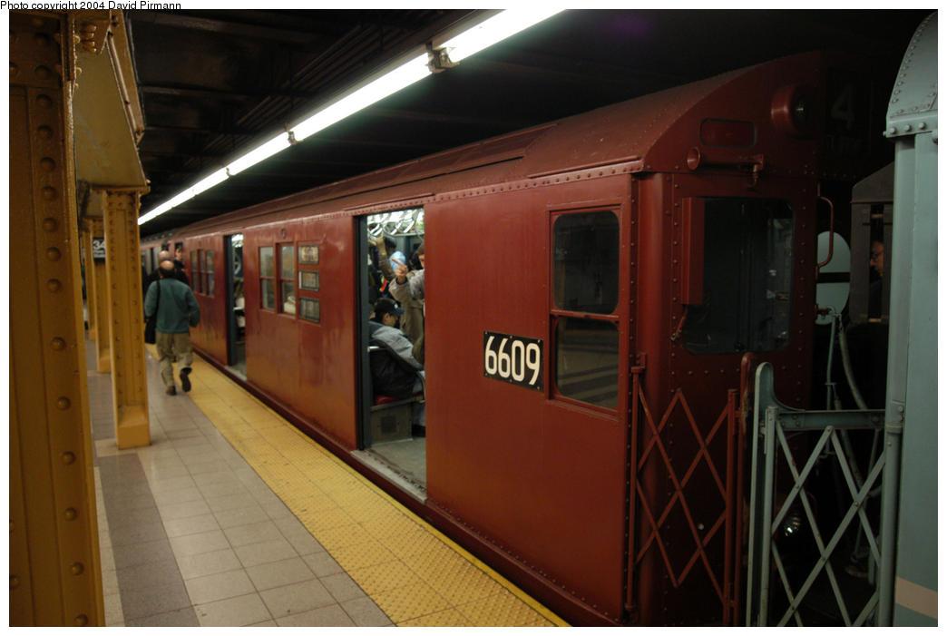 (147k, 1044x701)<br><b>Country:</b> United States<br><b>City:</b> New York<br><b>System:</b> New York City Transit<br><b>Line:</b> IRT West Side Line<br><b>Location:</b> 34th Street/Penn Station <br><b>Route:</b> Fan Trip<br><b>Car:</b> R-17 (St. Louis, 1955-56) 6609 <br><b>Photo by:</b> David Pirmann<br><b>Date:</b> 10/29/2004<br><b>Notes:</b> Train in regular passenger service, technically not a fan trip.<br><b>Viewed (this week/total):</b> 1 / 2692