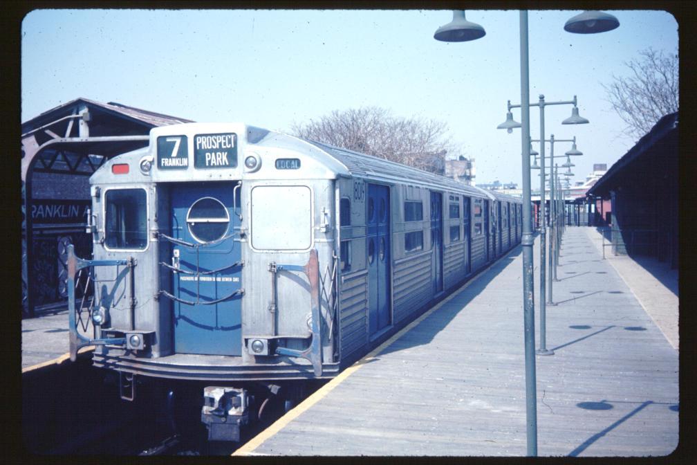 (109k, 1008x672)<br><b>Country:</b> United States<br><b>City:</b> New York<br><b>System:</b> New York City Transit<br><b>Line:</b> BMT Franklin<br><b>Location:</b> Franklin Avenue <br><b>Car:</b> R-11 (Budd, 1949) 8019 <br><b>Photo by:</b> Joe Korman<br><b>Viewed (this week/total):</b> 3 / 4761