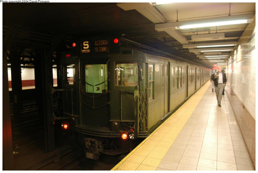 (149k, 1044x701)<br><b>Country:</b> United States<br><b>City:</b> New York<br><b>System:</b> New York City Transit<br><b>Line:</b> BMT Broadway Line<br><b>Location:</b> Canal Street <br><b>Route:</b> Fan Trip<br><b>Car:</b> R-4 (American Car & Foundry, 1932-1933) 484 <br><b>Photo by:</b> David Pirmann<br><b>Date:</b> 10/29/2004<br><b>Notes:</b> Train in regular passenger service, technically not a fan trip.<br><b>Viewed (this week/total):</b> 0 / 4386
