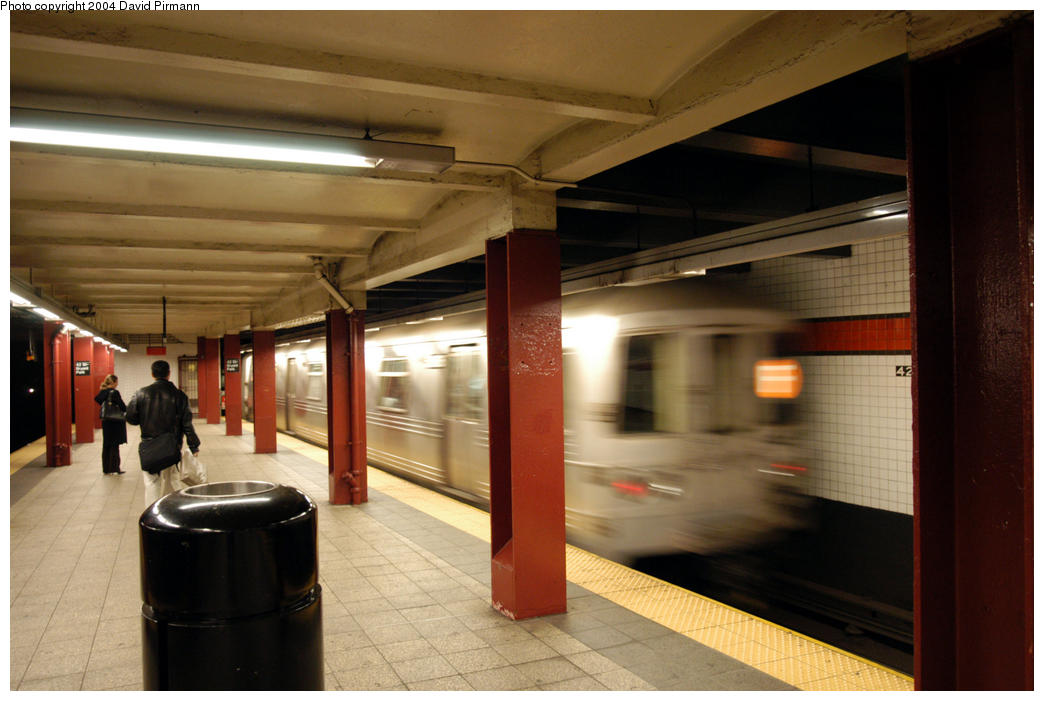 (155k, 1044x701)<br><b>Country:</b> United States<br><b>City:</b> New York<br><b>System:</b> New York City Transit<br><b>Line:</b> IND 6th Avenue Line<br><b>Location:</b> 42nd Street/Bryant Park <br><b>Route:</b> F<br><b>Car:</b> R-46 (Pullman-Standard, 1974-75)  <br><b>Photo by:</b> David Pirmann<br><b>Date:</b> 10/29/2004<br><b>Viewed (this week/total):</b> 0 / 4337