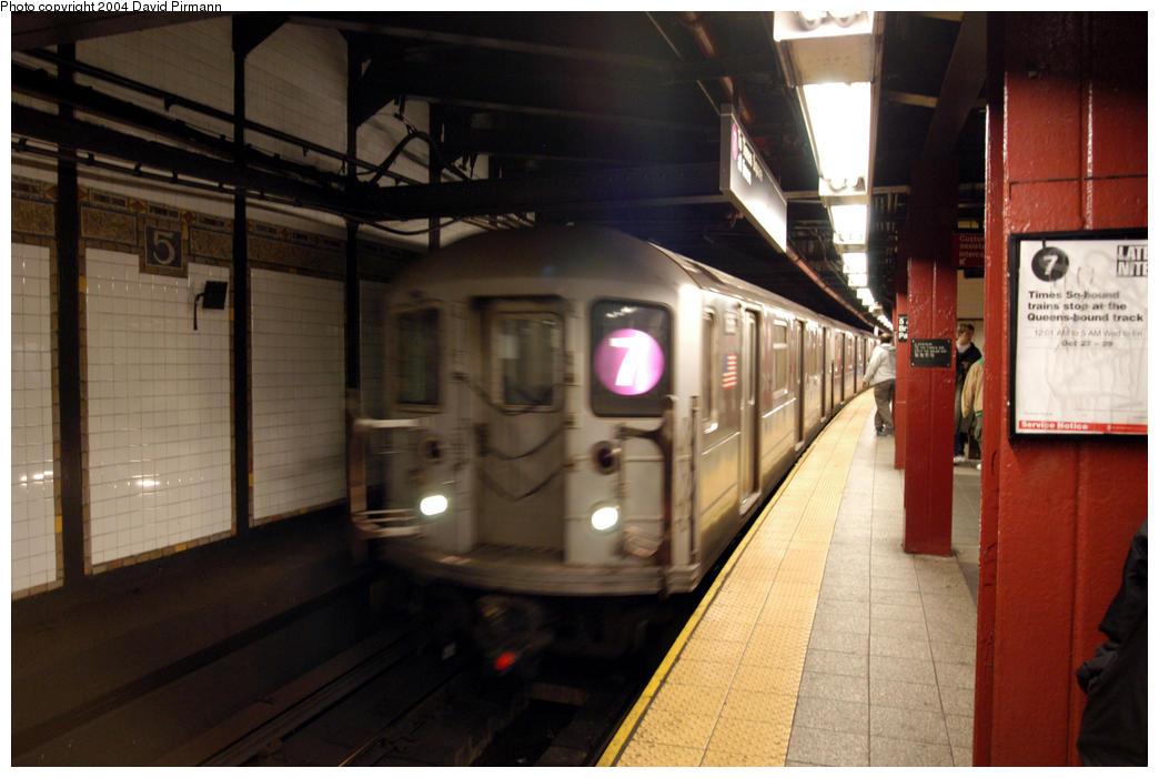 (160k, 1044x701)<br><b>Country:</b> United States<br><b>City:</b> New York<br><b>System:</b> New York City Transit<br><b>Line:</b> IRT Flushing Line<br><b>Location:</b> 5th Avenue <br><b>Route:</b> 7<br><b>Car:</b> R-62A (Bombardier, 1984-1987)  1686 <br><b>Photo by:</b> David Pirmann<br><b>Date:</b> 10/29/2004<br><b>Viewed (this week/total):</b> 2 / 5197