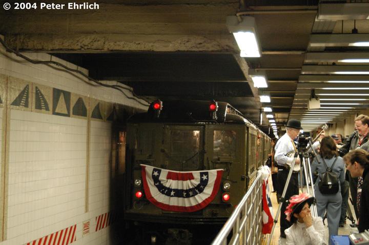 (152k, 720x478)<br><b>Country:</b> United States<br><b>City:</b> New York<br><b>System:</b> New York City Transit<br><b>Line:</b> IRT Times Square-Grand Central Shuttle<br><b>Location:</b> Grand Central <br><b>Route:</b> Fan Trip<br><b>Car:</b> Low-V (Museum Train) 5443 <br><b>Photo by:</b> Peter Ehrlich<br><b>Date:</b> 10/27/2004<br><b>Notes:</b> Train in regular passenger service, technically not a fan trip.<br><b>Viewed (this week/total):</b> 0 / 2977