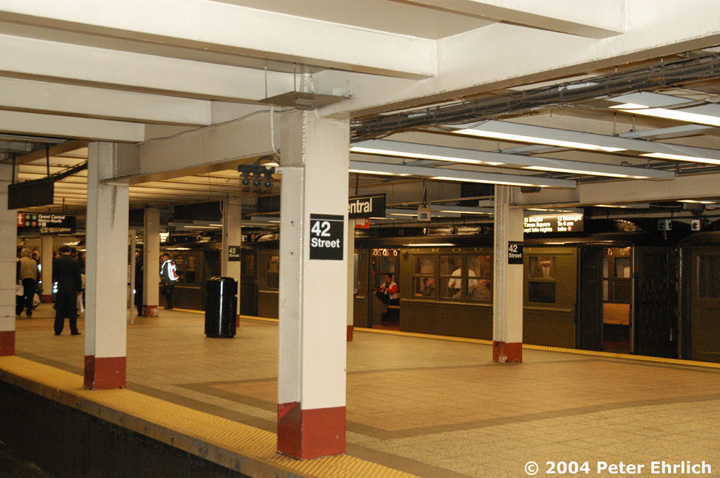 (147k, 720x478)<br><b>Country:</b> United States<br><b>City:</b> New York<br><b>System:</b> New York City Transit<br><b>Line:</b> IRT Times Square-Grand Central Shuttle<br><b>Location:</b> Grand Central <br><b>Route:</b> Fan Trip<br><b>Car:</b> Low-V (Museum Train) 5483 <br><b>Photo by:</b> Peter Ehrlich<br><b>Date:</b> 10/27/2004<br><b>Notes:</b> Train in regular passenger service, technically not a fan trip.<br><b>Viewed (this week/total):</b> 0 / 2489