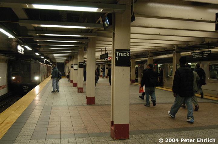 (145k, 720x478)<br><b>Country:</b> United States<br><b>City:</b> New York<br><b>System:</b> New York City Transit<br><b>Line:</b> IRT Times Square-Grand Central Shuttle<br><b>Location:</b> Grand Central <br><b>Route:</b> Fan Trip<br><b>Car:</b> R-12 (American Car & Foundry, 1948) 5760 <br><b>Photo by:</b> Peter Ehrlich<br><b>Date:</b> 10/27/2004<br><b>Notes:</b> Train in regular passenger service, technically not a fan trip.<br><b>Viewed (this week/total):</b> 0 / 2557