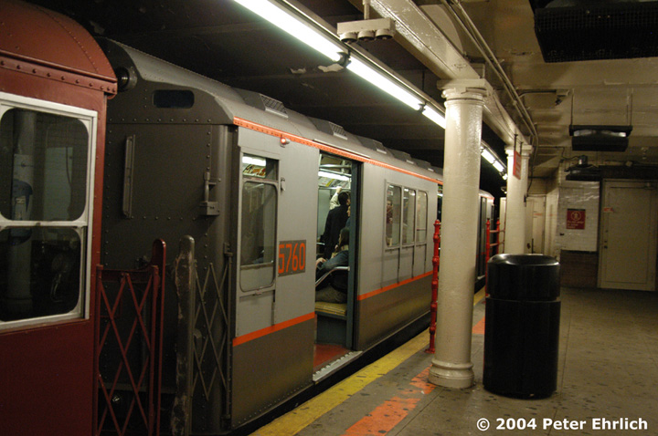 (140k, 720x478)<br><b>Country:</b> United States<br><b>City:</b> New York<br><b>System:</b> New York City Transit<br><b>Line:</b> IRT Times Square-Grand Central Shuttle<br><b>Location:</b> Times Square <br><b>Route:</b> Museum Train Service (S)<br><b>Car:</b> R-12 (American Car & Foundry, 1948) 5760 <br><b>Photo by:</b> Peter Ehrlich<br><b>Date:</b> 10/27/2004<br><b>Notes:</b> Train in regular passenger service, technically not a fan trip.<br><b>Viewed (this week/total):</b> 1 / 4393