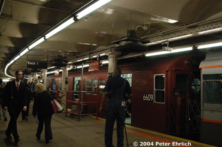 (141k, 720x478)<br><b>Country:</b> United States<br><b>City:</b> New York<br><b>System:</b> New York City Transit<br><b>Line:</b> IRT Times Square-Grand Central Shuttle<br><b>Location:</b> Times Square <br><b>Route:</b> Museum Train Service (S)<br><b>Car:</b> R-17 (St. Louis, 1955-56) 6609 <br><b>Photo by:</b> Peter Ehrlich<br><b>Date:</b> 10/27/2004<br><b>Notes:</b> Train in regular passenger service, technically not a fan trip.<br><b>Viewed (this week/total):</b> 2 / 3933