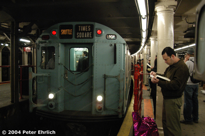 (135k, 720x478)<br><b>Country:</b> United States<br><b>City:</b> New York<br><b>System:</b> New York City Transit<br><b>Line:</b> IRT Times Square-Grand Central Shuttle<br><b>Location:</b> Times Square <br><b>Route:</b> Museum Train Service (S)<br><b>Car:</b> R-33 World's Fair (St. Louis, 1963-64) 9306 <br><b>Photo by:</b> Peter Ehrlich<br><b>Date:</b> 10/27/2004<br><b>Notes:</b> Train in regular passenger service, technically not a fan trip.<br><b>Viewed (this week/total):</b> 2 / 4749