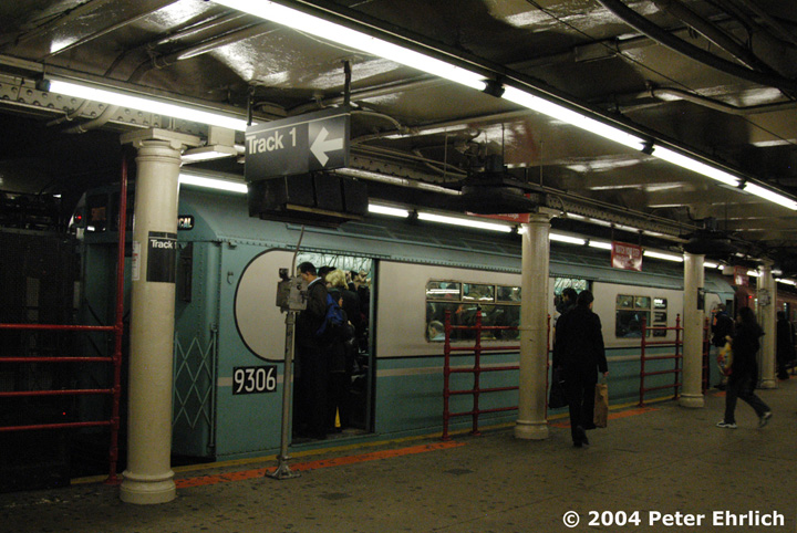 (167k, 720x482)<br><b>Country:</b> United States<br><b>City:</b> New York<br><b>System:</b> New York City Transit<br><b>Line:</b> IRT Times Square-Grand Central Shuttle<br><b>Location:</b> Times Square <br><b>Route:</b> Museum Train Service (S)<br><b>Car:</b> R-33 World's Fair (St. Louis, 1963-64) 9306 <br><b>Photo by:</b> Peter Ehrlich<br><b>Date:</b> 10/27/2004<br><b>Notes:</b> Train in regular passenger service, technically not a fan trip.<br><b>Viewed (this week/total):</b> 0 / 4071