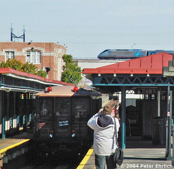 (265k, 720x698)<br><b>Country:</b> United States<br><b>City:</b> New York<br><b>System:</b> New York City Transit<br><b>Line:</b> BMT Astoria Line<br><b>Location:</b> Astoria Boulevard/Hoyt Avenue <br><b>Route:</b> Fan Trip<br><b>Car:</b> BMT Elevated Gate Car 1404-1273-1407 <br><b>Photo by:</b> Peter Ehrlich<br><b>Date:</b> 10/28/2004<br><b>Notes:</b> BU train in excursion service on Astoria line.<br><b>Viewed (this week/total):</b> 0 / 3081