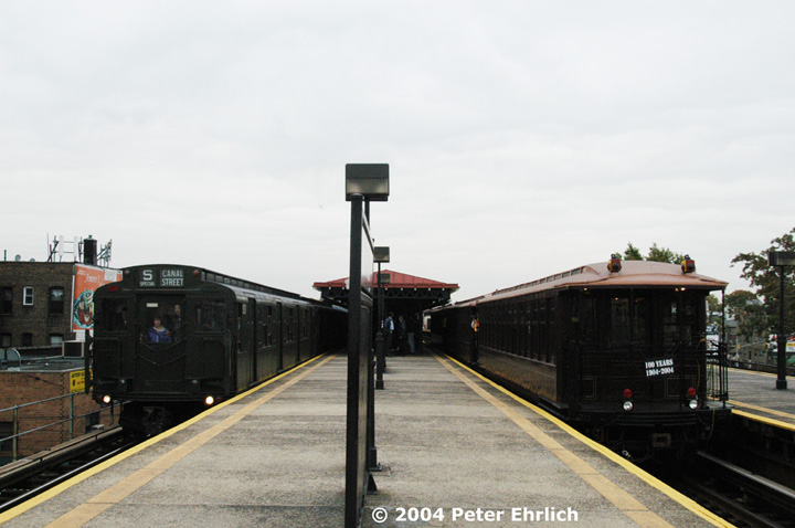 (108k, 720x478)<br><b>Country:</b> United States<br><b>City:</b> New York<br><b>System:</b> New York City Transit<br><b>Line:</b> BMT Astoria Line<br><b>Location:</b> Astoria Boulevard/Hoyt Avenue <br><b>Route:</b> Fan Trip<br><b>Car:</b> R-1 (American Car & Foundry, 1930-1931) 100 <br><b>Photo by:</b> Peter Ehrlich<br><b>Date:</b> 10/29/2004<br><b>Notes:</b> R1/9 train in service to Canal St.; BU's in excursion service.<br><b>Viewed (this week/total):</b> 0 / 3482