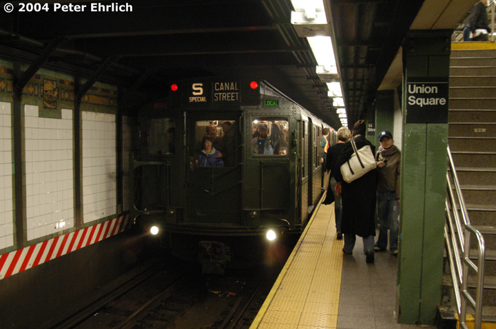 (135k, 720x478)<br><b>Country:</b> United States<br><b>City:</b> New York<br><b>System:</b> New York City Transit<br><b>Line:</b> BMT Broadway Line<br><b>Location:</b> 14th Street/Union Square <br><b>Route:</b> Fan Trip<br><b>Car:</b> R-1 (American Car & Foundry, 1930-1931) 100 <br><b>Photo by:</b> Peter Ehrlich<br><b>Date:</b> 10/29/2004<br><b>Notes:</b> In service Ditmars Blvd.-Canal St.<br><b>Viewed (this week/total):</b> 0 / 3929