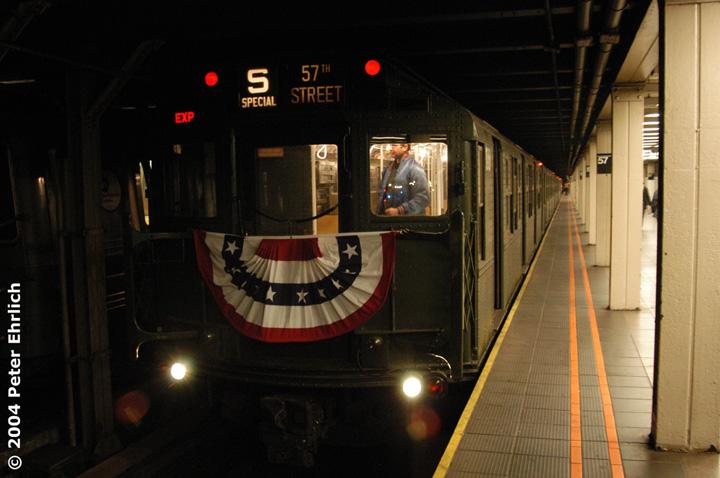 (120k, 720x478)<br><b>Country:</b> United States<br><b>City:</b> New York<br><b>System:</b> New York City Transit<br><b>Line:</b> BMT Broadway Line<br><b>Location:</b> 57th Street <br><b>Route:</b> Fan Trip<br><b>Car:</b> R-1 (American Car & Foundry, 1930-1931) 100 <br><b>Photo by:</b> Peter Ehrlich<br><b>Date:</b> 10/27/2004<br><b>Notes:</b> In service Ditmars Blvd.-Canal St.<br><b>Viewed (this week/total):</b> 0 / 3516