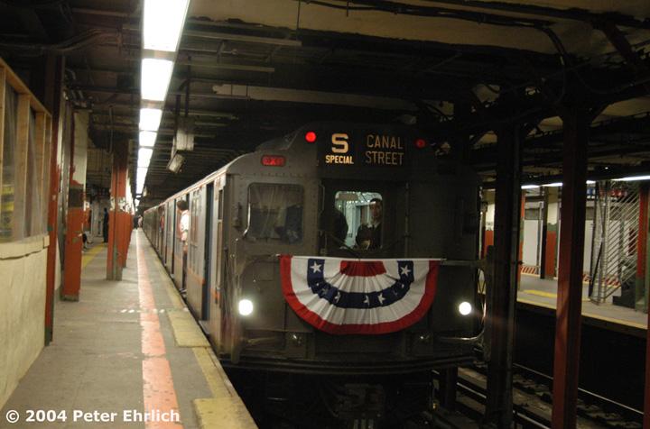 (135k, 720x476)<br><b>Country:</b> United States<br><b>City:</b> New York<br><b>System:</b> New York City Transit<br><b>Line:</b> BMT Broadway Line<br><b>Location:</b> Times Square/42nd Street <br><b>Route:</b> Fan Trip<br><b>Car:</b> R-7A (Pullman, 1938)  1575 <br><b>Photo by:</b> Peter Ehrlich<br><b>Date:</b> 10/27/2004<br><b>Notes:</b> In service Ditmars Blvd.-Canal St.<br><b>Viewed (this week/total):</b> 0 / 4502