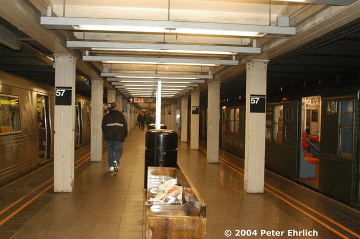(155k, 720x478)<br><b>Country:</b> United States<br><b>City:</b> New York<br><b>System:</b> New York City Transit<br><b>Line:</b> BMT Broadway Line<br><b>Location:</b> 57th Street <br><b>Route:</b> Fan Trip<br><b>Car:</b> R-4 (American Car & Foundry, 1932-1933) 401 <br><b>Photo by:</b> Peter Ehrlich<br><b>Date:</b> 10/27/2004<br><b>Notes:</b> In service Ditmars Blvd.-Canal St.<br><b>Viewed (this week/total):</b> 3 / 4439