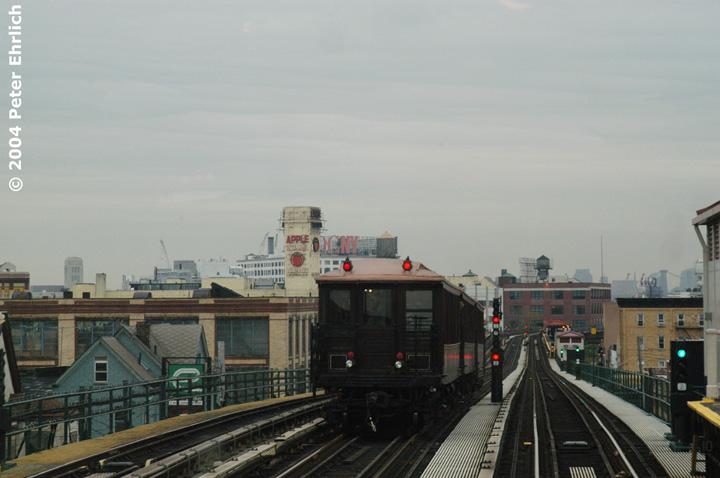 (110k, 720x478)<br><b>Country:</b> United States<br><b>City:</b> New York<br><b>System:</b> New York City Transit<br><b>Line:</b> BMT Astoria Line<br><b>Location:</b> 36th/Washington Aves. <br><b>Route:</b> Fan Trip<br><b>Car:</b> BMT Elevated Gate Car 1404 <br><b>Photo by:</b> Peter Ehrlich<br><b>Date:</b> 10/29/2004<br><b>Notes:</b> Train in regular passenger service, technically not a fan trip.<br><b>Viewed (this week/total):</b> 0 / 2673