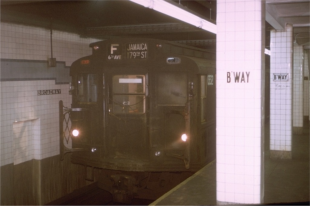 (140k, 1024x683)<br><b>Country:</b> United States<br><b>City:</b> New York<br><b>System:</b> New York City Transit<br><b>Line:</b> IND 6th Avenue Line<br><b>Location:</b> Broadway/Lafayette <br><b>Route:</b> F<br><b>Car:</b> R-6-1 (Pressed Steel, 1936)  1332 <br><b>Photo by:</b> Joe Testagrose<br><b>Date:</b> 1/12/1971<br><b>Viewed (this week/total):</b> 0 / 4266