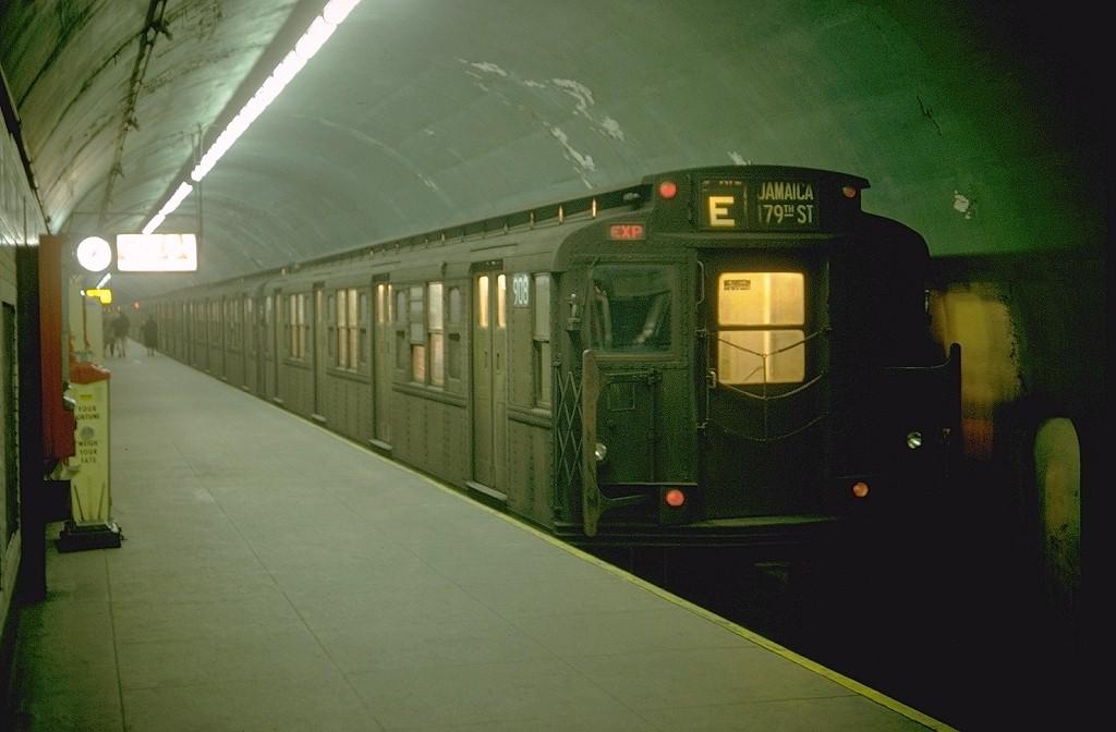 (149k, 1024x672)<br><b>Country:</b> United States<br><b>City:</b> New York<br><b>System:</b> New York City Transit<br><b>Line:</b> IND Queens Boulevard Line<br><b>Location:</b> 5th Avenue/53rd Street <br><b>Route:</b> E<br><b>Car:</b> R-6-3 (American Car & Foundry, 1935)  908 <br><b>Photo by:</b> Doug Grotjahn<br><b>Collection of:</b> Joe Testagrose<br><b>Date:</b> 2/8/1969<br><b>Viewed (this week/total):</b> 1 / 6284