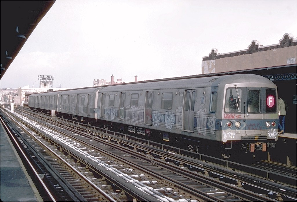 (200k, 1024x696)<br><b>Country:</b> United States<br><b>City:</b> New York<br><b>System:</b> New York City Transit<br><b>Line:</b> BMT Culver Line<br><b>Location:</b> Ditmas Avenue <br><b>Route:</b> F<br><b>Car:</b> R-46 (Pullman-Standard, 1974-75) 682 <br><b>Photo by:</b> Joe Testagrose<br><b>Date:</b> 1/26/1977<br><b>Viewed (this week/total):</b> 2 / 4196