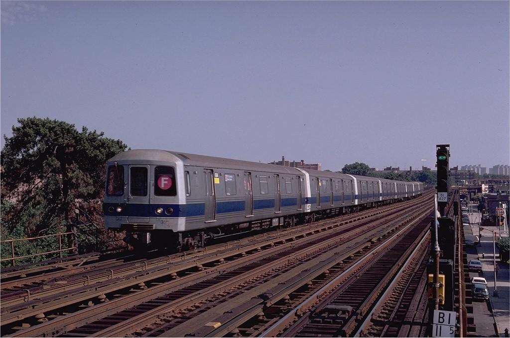 (210k, 1024x679)<br><b>Country:</b> United States<br><b>City:</b> New York<br><b>System:</b> New York City Transit<br><b>Line:</b> BMT Culver Line<br><b>Location:</b> Avenue P <br><b>Route:</b> F<br><b>Car:</b> R-46 (Pullman-Standard, 1974-75) 694 <br><b>Photo by:</b> Joe Testagrose<br><b>Date:</b> 7/4/1980<br><b>Viewed (this week/total):</b> 3 / 3893