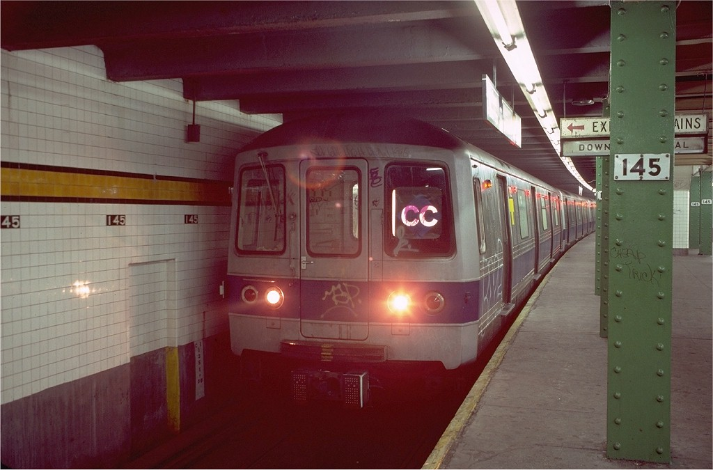 (159k, 1024x675)<br><b>Country:</b> United States<br><b>City:</b> New York<br><b>System:</b> New York City Transit<br><b>Line:</b> IND 8th Avenue Line<br><b>Location:</b> 145th Street <br><b>Route:</b> CC<br><b>Car:</b> R-46 (Pullman-Standard, 1974-75) 792 <br><b>Photo by:</b> Steve Zabel<br><b>Collection of:</b> Joe Testagrose<br><b>Date:</b> 11/28/1980<br><b>Viewed (this week/total):</b> 1 / 6358